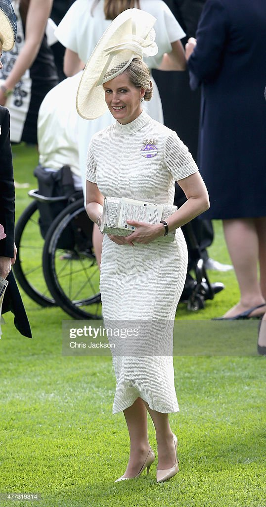 Sophie, Countess of Wessex looks up from the parade ring on day 1 of Royal Ascot at Ascot Racecourse on June 16, 2015 in Ascot, England.