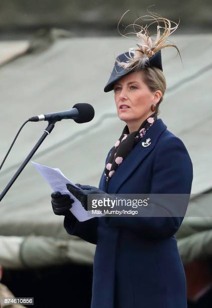 Sophie Countess of Wessex makes a speech as she attends 5 Rifles homecoming parade following a nine month operational deployment to Estonia at Ward...
