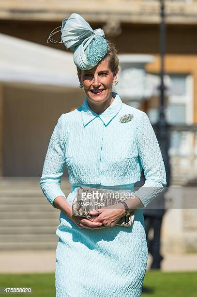 Sophie Countess of Wessex meets Blind veterans and guests at a garden party at Buckingham Palace on June 4 2015 in London England The party hosted by...