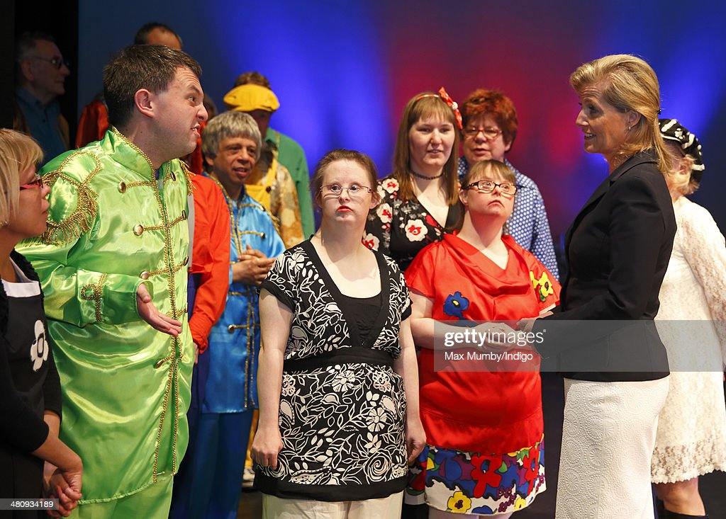 Sophie, Countess of Wessex meets members of the cast after watching a performance during a visit to Shanklin Theatre on a day of engagements on the Isle of Wight on March 27, 2014 in Shanklin, England.