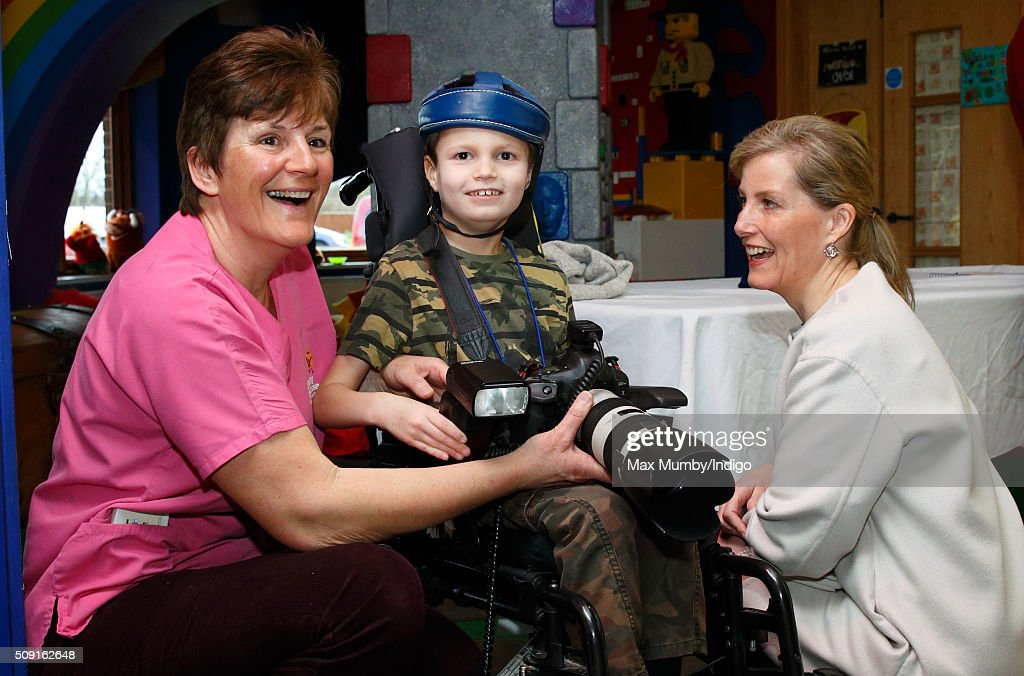 Sophie, Countess of Wessex meets Miles Thwaites (aged 8) as she visits Christopher's Children's Hospice to mark the 15th birthday of the charity Shooting Star Chase on February 9, 2016 in Guildford, England.