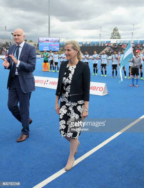 Sophie Countess of Wessex meets players during the final match between Argentina and the Netherlands on day nine of the Hero Hockey World League...