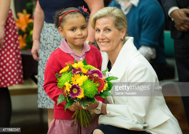 Sophie Countess of Wessex meets school children as Prince Edward Earl of Wessex and Sophie Countess Of Wessex visit Robert Browning Primary School on...