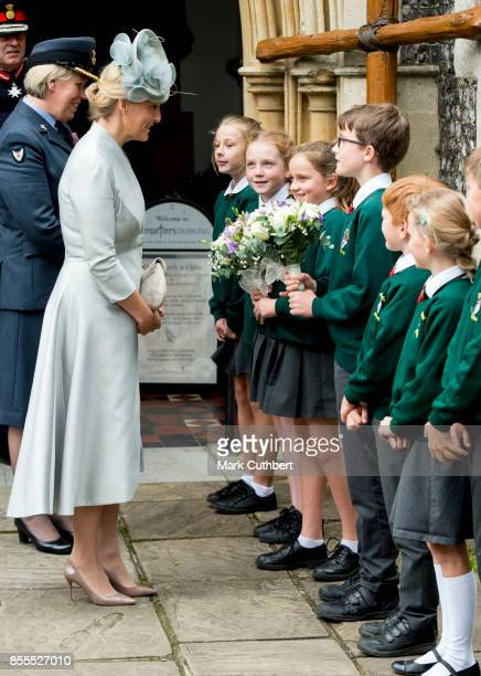 Sophie Countess Of Wessex meets school children at the Headley Court Farewell parade at St Martins Church on September 29 2017 in Dorking England
