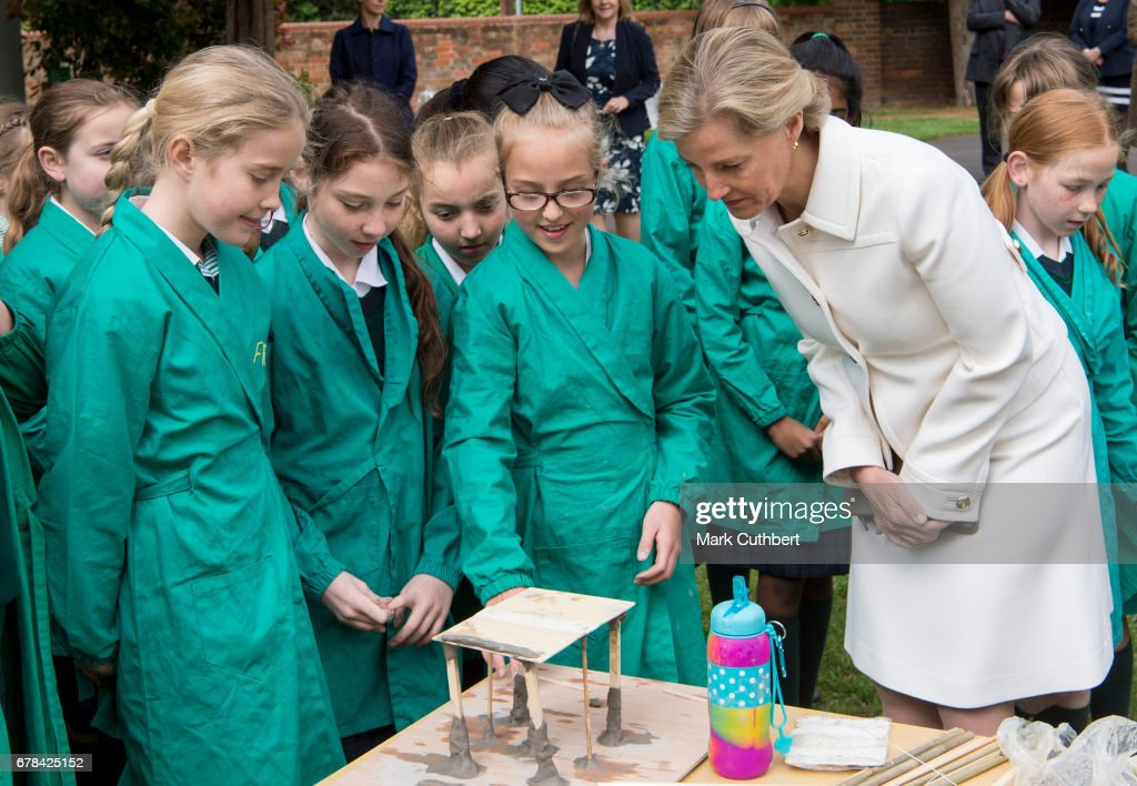 Sophie, Countess of Wessex meets staff and children during a visit to The Abbey School on May 4, 2017 in Reading, England.