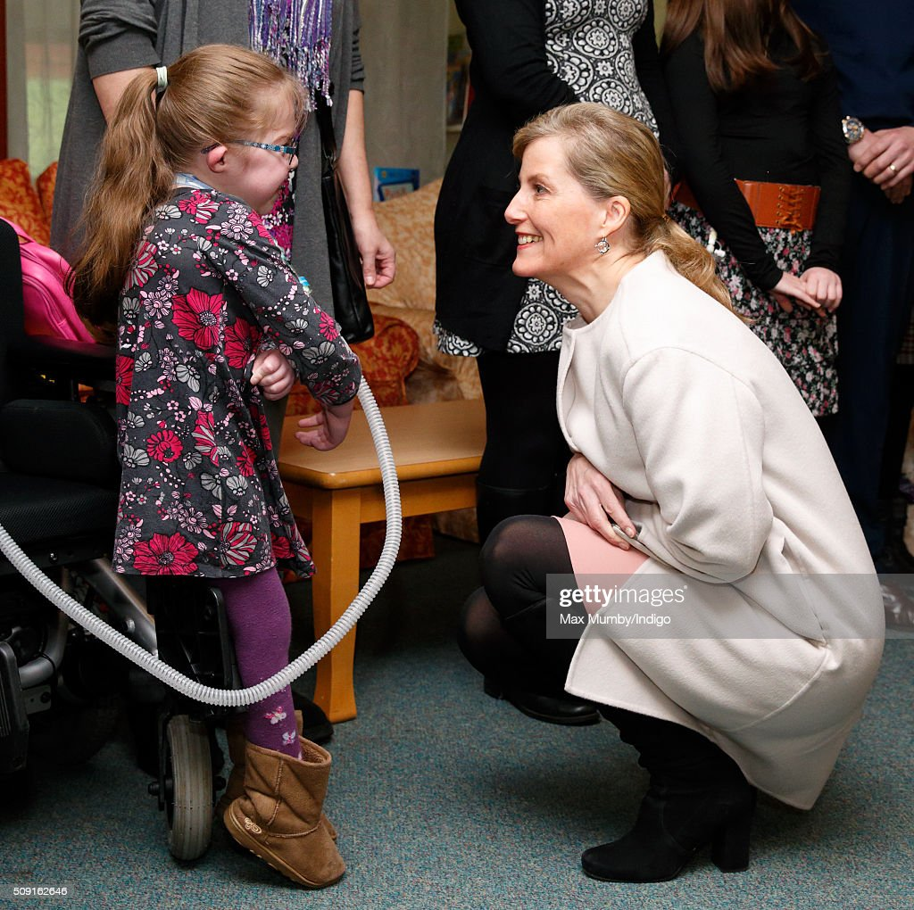 Sophie, Countess of Wessex meets Summer Palczynski (aged 7) as she visits Christopher's Children's Hospice to mark the 15th birthday of the charity Shooting Star Chase on February 9, 2016 in Guildford, England.