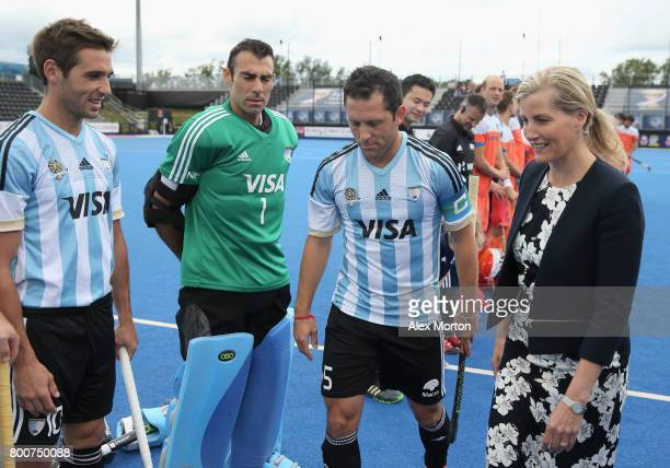 Sophie Countess of Wessex meets the Argentina players during the final match between Argentina and the Netherlands on day nine of the Hero Hockey...