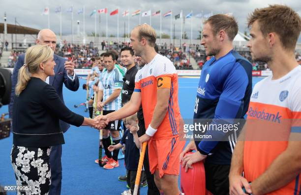 Sophie Countess of Wessex meets the Netherlands players during the final match between Argentina and the Netherlands on day nine of the Hero Hockey...