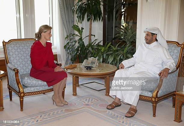 Sophie Countess of Wessex meets the Prime Minister of Qatar HE Sheikh Abdullah bin Nasser bin Khalifa Al Thani at the Doha Palace on day 1 of her...
