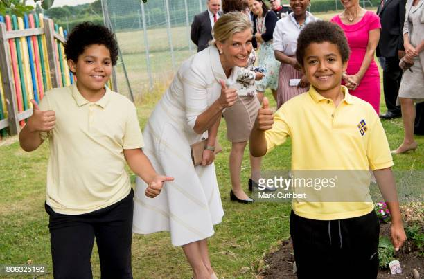 Sophie Countess of Wessex Patron of London Children's Flower Society during a visit to Baston House School on July 3 2017 in Bromley England