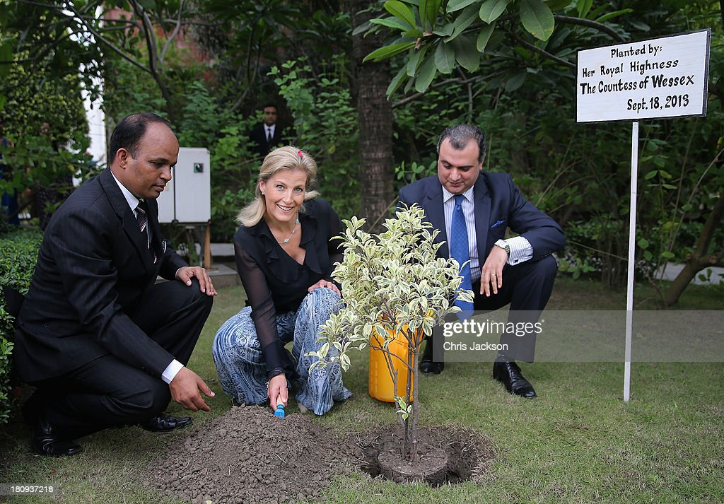 Sophie, Countess of Wessex plants a tree at the ITC Sonar Kolkata Hotel on day 1 of her visit to India with the Charity ORBIS on September 18, 2013 in Kolkata, India. During her solo visit to India the Countess is supporting the sight saving charity ORBIS.The Countess will visit the ORBIS Flying Eye Hospital in Kolkata, India where she will witness patients undergoing surgery. Onboard HRH will meet medical volunteers from around the world who share their skills with local eye care workers to improve eye care in local communities.