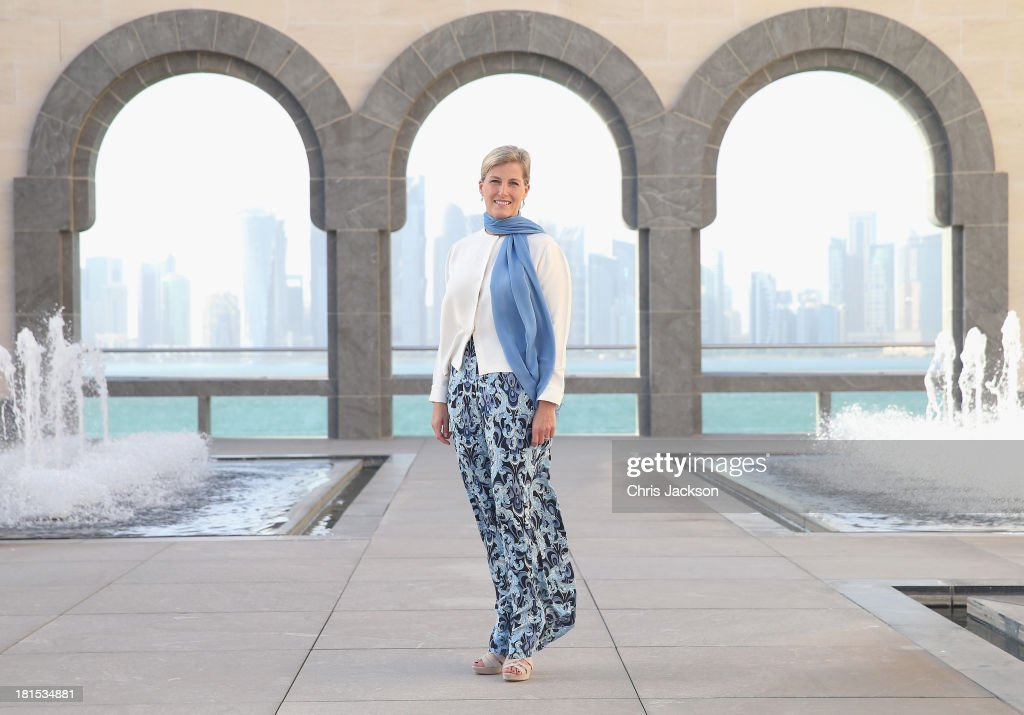 Sophie, Countess of Wessex poses for a portrait in the courtyard of the Museum of Islamic Art on day 1 of her visit to Qatar with the Charity ORBIS on September 22, 2013 in Doha, Qatar. Her solo visit to Qatar follows on from a successful trip to Kolkata in India where the Countess flew from this morning on the Flying Eye Hospital. The Countess is supporting the sight saving charity ORBIS helping to raise awareness of their work and garner support for their projects.