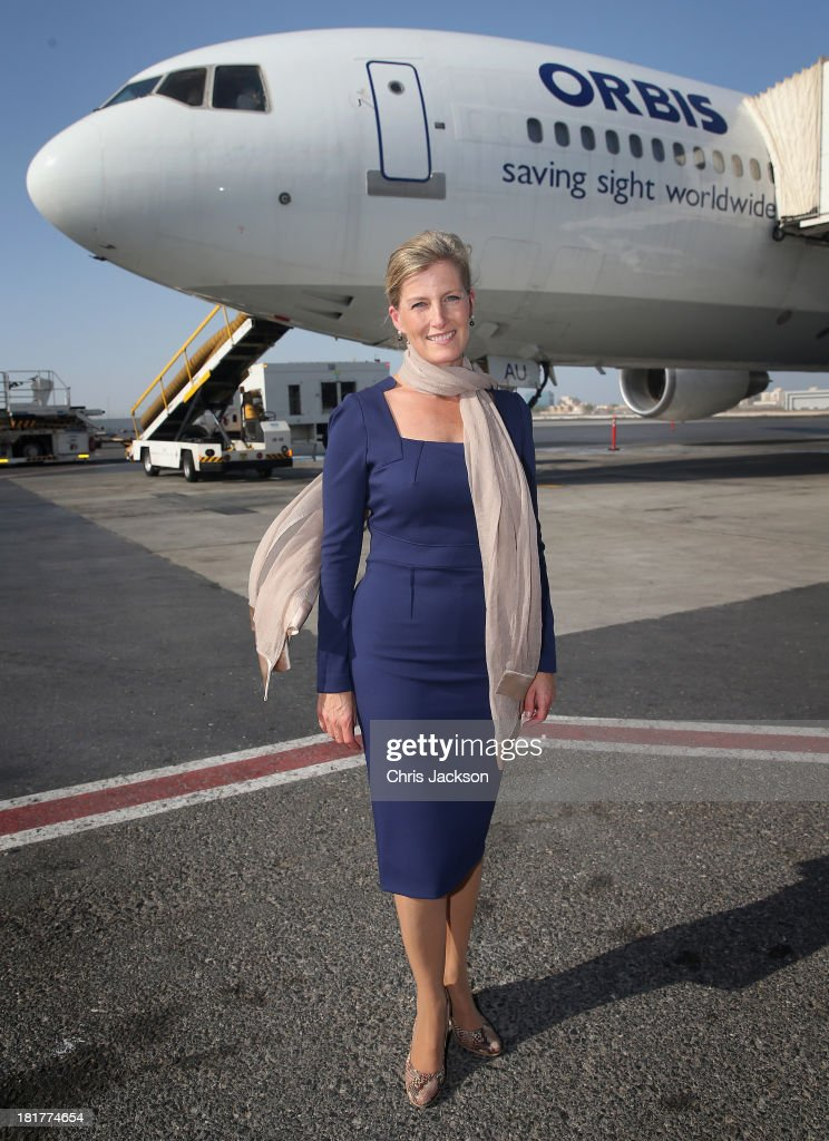 Sophie, Countess of Wessex poses in front of the ORBIS Flying Eye Hospital at Doha International Airport after taking Qatari donors on a tour of the plane on day 2 of her visit to Qatar with the Charity ORBIS on September 23, 2013 in Doha, Qatar. Her solo visit to Qatar follows on from a successful trip to Kolkata in India where the Countess flew from this morning on the Flying Eye Hospital. The Countess is supporting the sight saving charity ORBIS helping to raise awareness of their work and garner support for their projects.