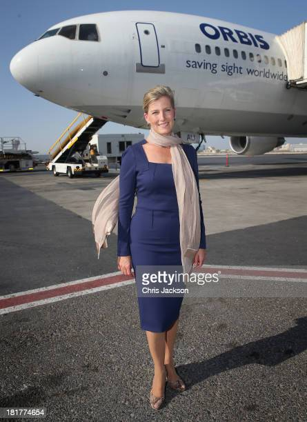 Sophie Countess of Wessex poses in front of the ORBIS Flying Eye Hospital at Doha International Airport after taking Qatari donors on a tour of the...
