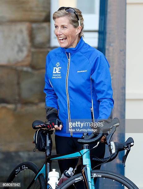 Sophie Countess of Wessex prepares to depart the Palace of Holyroodhouse on day one of her Diamond Challenge cycle ride on September 19 2016 in...