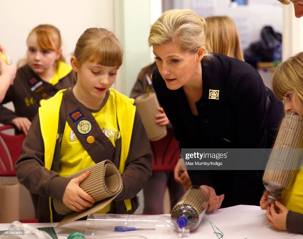 Sophie, Countess of Wessex, President of Girlguiding, helps out with Brownies activities as she visits 5th Frimley Brownies on January 15, 2014 in Frimley, England.