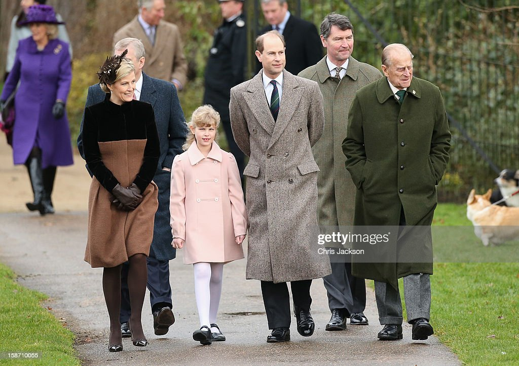 Sophie, Countess of Wessex, Prince Andrew, Duke of York, Lady Louise Windsor, Prince Edward, Earl of Wessex, Vice-Admiral Sir Timothy Laurence and Prince Philip, Duke of Edinburgh attend the traditional Christmas Day church service at St Mary Magdalene Church, Sandringham on December 25, 2012 near King's Lynn, England.