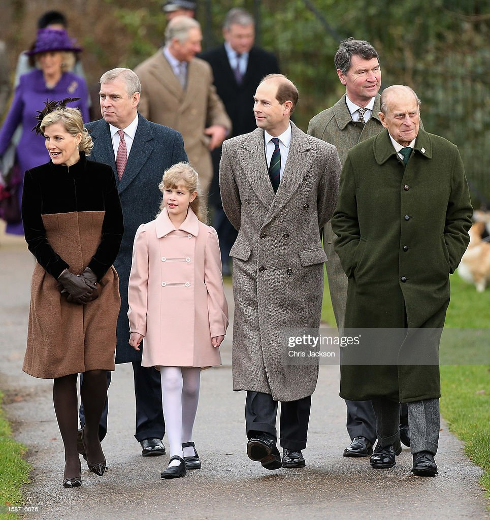 Sophie, Countess of Wessex, Prince Andrew, Duke of York, Lady Louise Windsor, Prince Edward, Earl of Wessex, Vice Admiral Sir <a gi-track='captionPersonalityLinkClicked' href=/galleries/search?phrase=Timothy+Laurence&family=editorial&specificpeople=160940 ng-click='$event.stopPropagation()'>Timothy Laurence</a> and Prince Philip, Duke of Edinburgh attend the traditional Christmas Day church service at St Mary Magdalene Church, Sandringham on December 25, 2012 near King's Lynn, England.