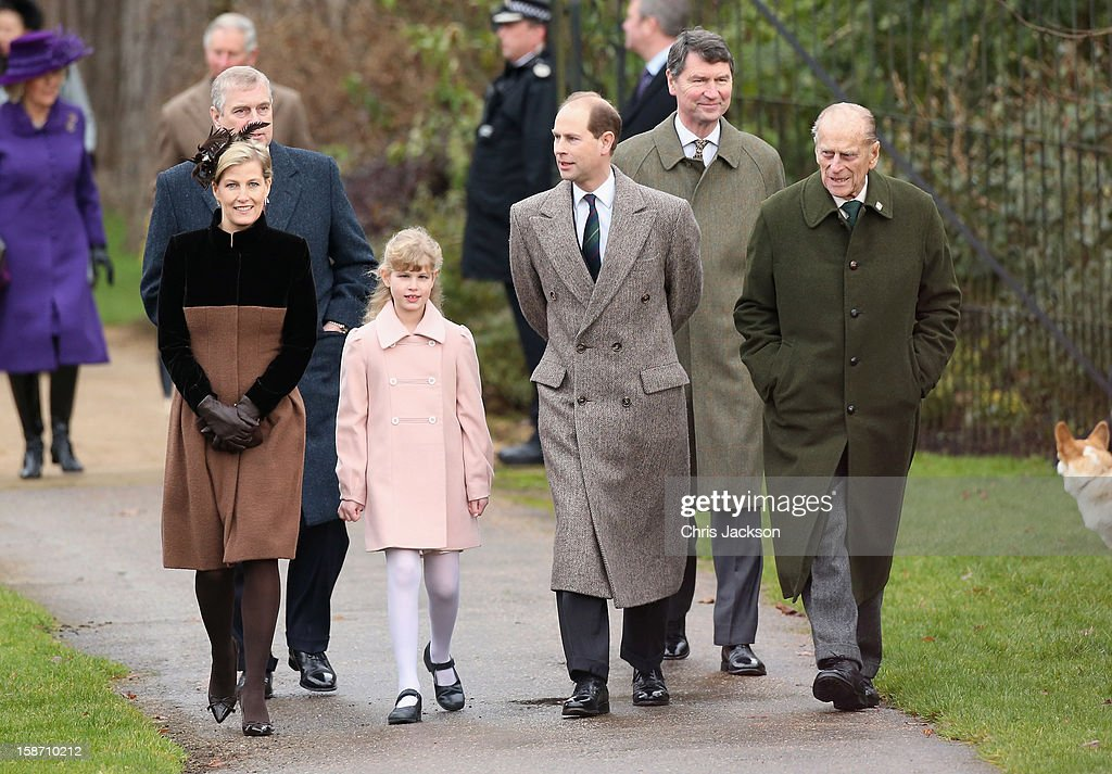 Sophie, Countess of Wessex, Prince Andrew, Duke of York, Lady Louise Windsor, Prince Edward, Earl of Wessex, Vice Admirla Sir Timothy Laurence and Prince Philip, Duke of Edinburgh attends the traditional Christmas Day church service at Sandringham church on December 25, 2012 in King's Lynn, England.