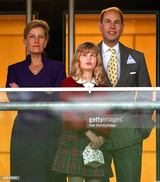 Sophie Countess of Wessex Prince Edward Earl of Wessex and their daughter Lady Louise Windsor watch the racing as they attend the Christmas Meeting...
