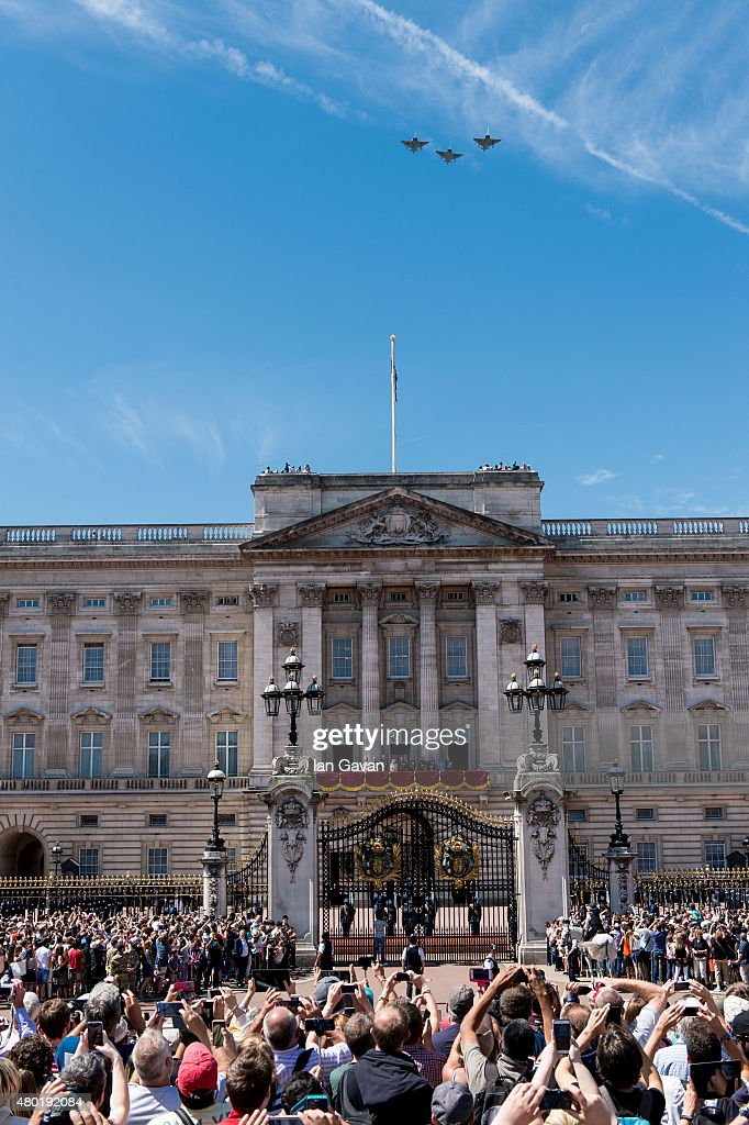 Sophie, Countess of Wessex, Prince Edward, Earl of Wessex, Prince William, Duke of Cambridge, Queen Elizabeth II, Prince Philip, Duke of Edinburgh, Prince Andrew, Duke of York, Prince Edward, Duke of Kent, Prince Michael of Kent, Princess Alexandra, and Prince Richard, Duke of Gloucester watch the flypast from the balcony of Buckingham Palace to commemorate the 75th Anniversary Of The Battle Of Britain on July 10, 2015 in London, England.