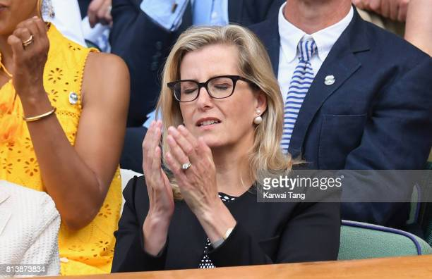 Sophie Countess of Wessex reacts as she attends day 11 of Wimbledon 2017 on July 13 2017 in London England