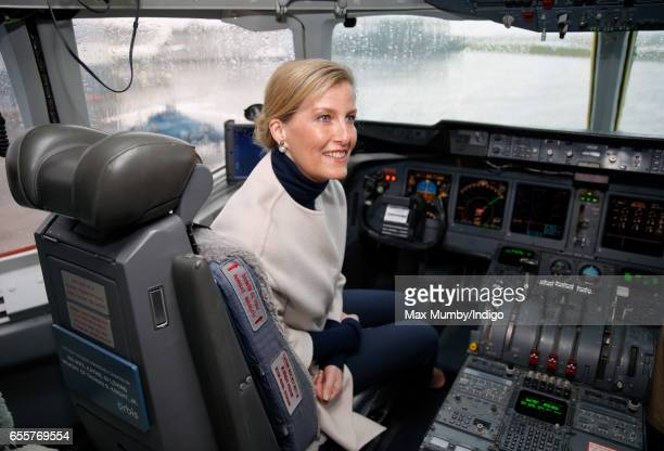 Sophie Countess of Wessex sits in the cockpit of the Orbis Flying Eye Hospital at Stansted Airport on March 20 2017 in London England Eye charity...