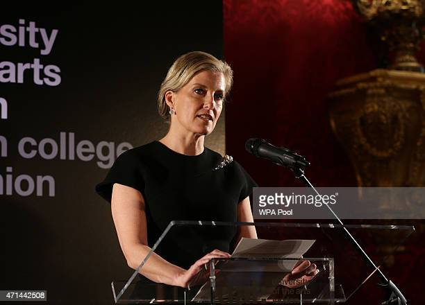 Sophie Countess of Wessex speaks during a reception for the London College of Fashion at St James's Palace on April 28 2015 in London England
