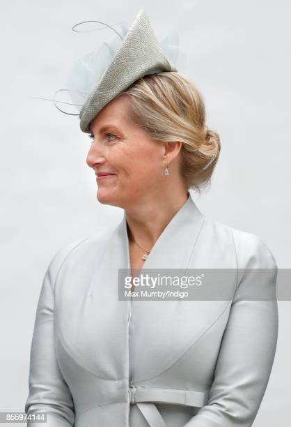 Sophie Countess of Wessex takes the salute as she attends the Headley Court Farewell Parade on September 29 2017 in Dorking England A service of...