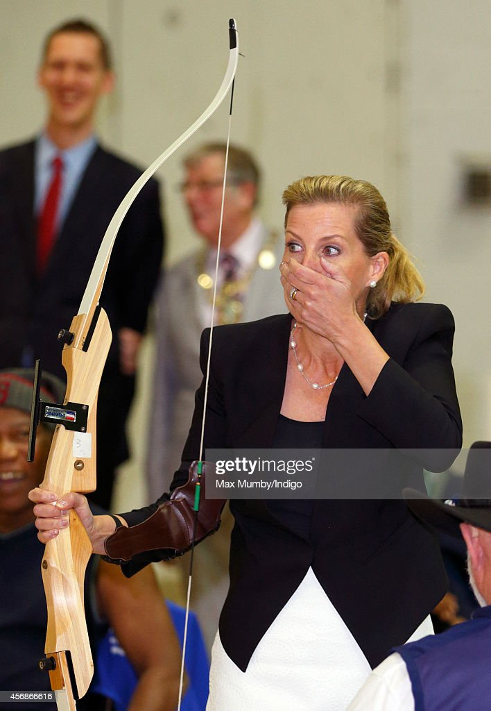 Sophie, Countess of Wessex tries her hand at archery during a visit to WheelPower (the national charity for wheelchair sport in the UK) at the Stoke Mandeville Stadium on October 8, 2014 in Aylesbury, England.
