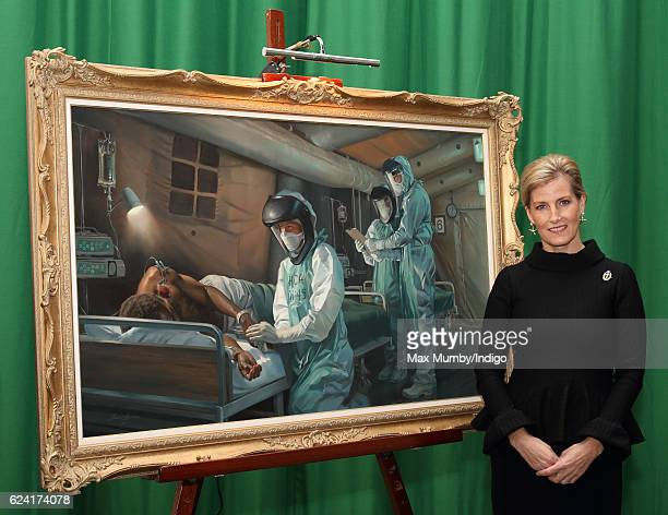 Sophie Countess of Wessex unveils a painting by military artist Stuart Brown to commemorate the Queen Alexandra's Royal Army Nursing Corps...