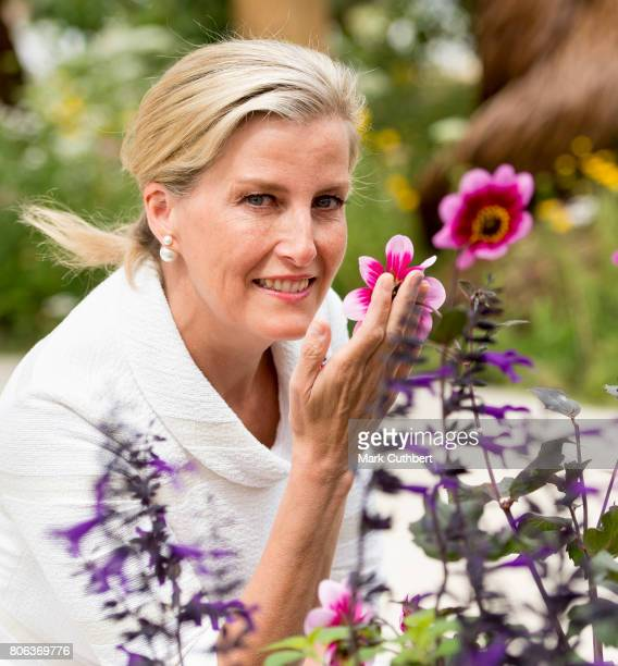 Sophie Countess of Wessex visits the Blind Veterans UK Community Show Garden at Hampton Court Palace on July 3 2017 in London England