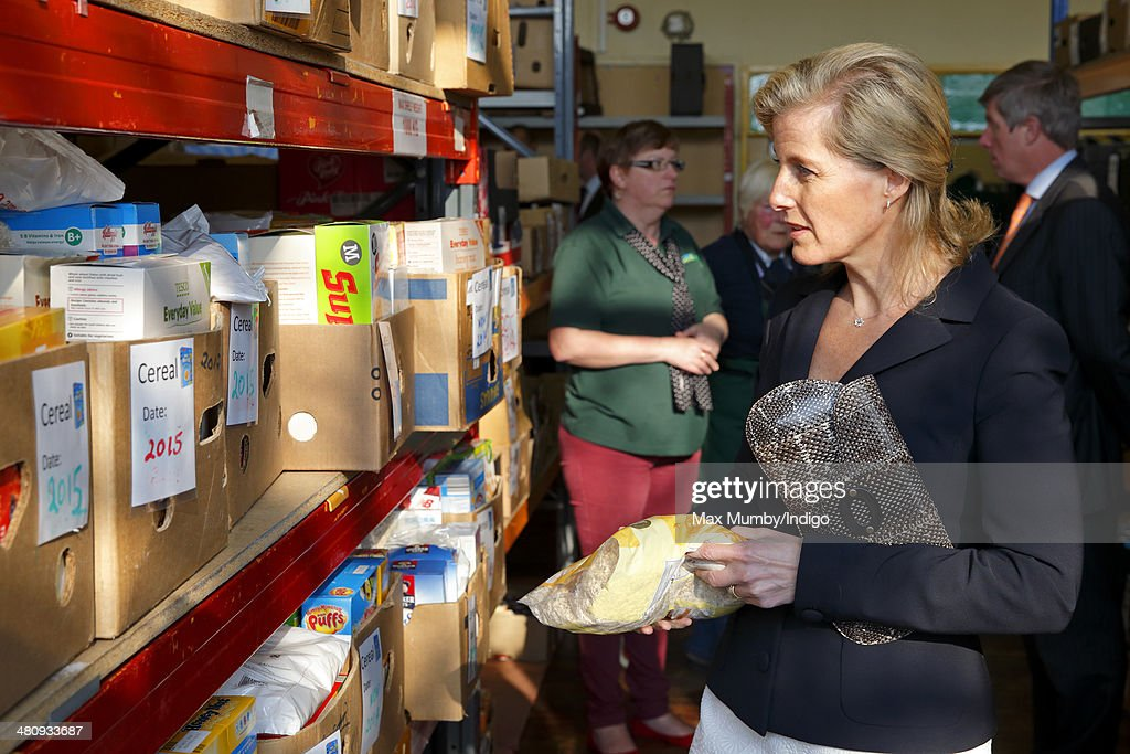 Sophie, Countess of Wessex visits the Isle of Wight Foodbank on March 27, 2014 in Cowes, England.