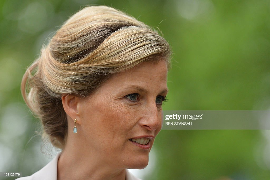 Sophie, Countess of Wessex, visits to the Chelsea Flower Show in London on May 20, 2013. The world-famous gardening event run by the Royal Horticultural Society (RHS) is celebrating its centenary year. AFP PHOTO / BEN STANSALL