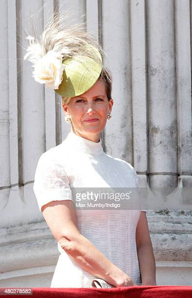 Sophie Countess of Wessex watches a flypast of Spitfire Hurricane aircraft from the balcony of Buckingham Palace to commemorate the 75th Anniversary...