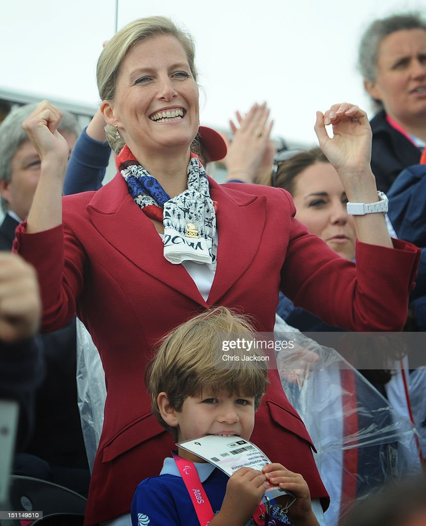 The Countess of Wessex and her son Viscount Severn (front) watch the rowing finals at Eton Dorney in Berkshire during the Paralympic Games. PRESS ASSOCIATION Photo. Picture date: Sunday September 2, 2012. Photo credit should read: Stefan Rousseau/PA Wire WINDSOR, ENGLAND - SEPTEMBER 02: Sophie, Countess of Wessex watches Great Britain Mixed Coxed Four Rowing - LTAMix4+ team celebrate after winning gold on day 4 of the London 2012 Paralympic Games at Eton Dorney on September 2, 2012 in Windsor, England.
