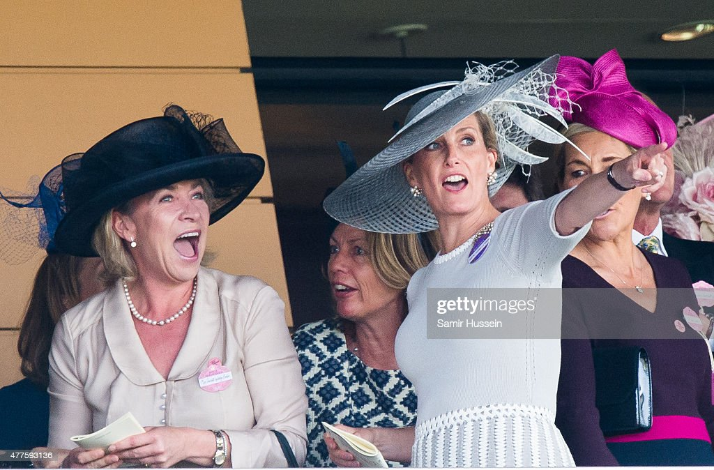 Sophie, Countess of Wessex (R) watches the races on Ladies Day on day 3 of Royal Ascot at Ascot Racecourse on June 18, 2015 in Ascot, England.