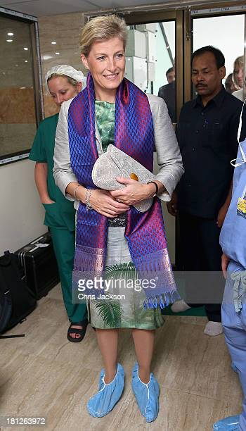 Sophie Countess of Wessex wears protective shoe covers in the operating theatre at Susrut Eye Foundation and Hospital on day 3 of her visit to India...