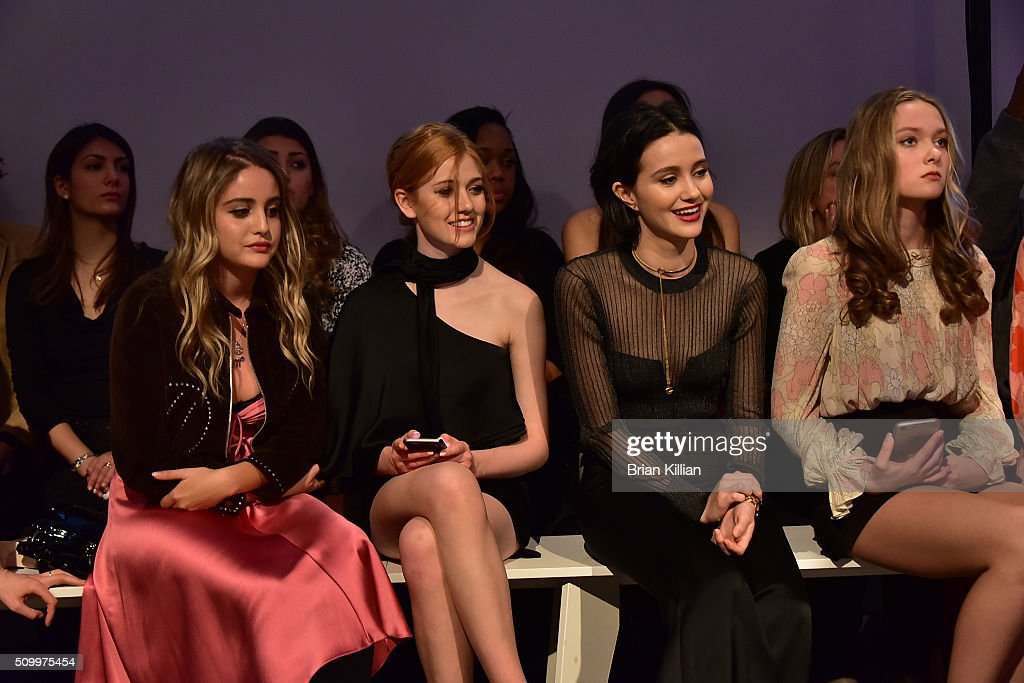 Sophie Curtis, <a gi-track='captionPersonalityLinkClicked' href=/galleries/search?phrase=Katherine+McNamara&family=editorial&specificpeople=6829207 ng-click='$event.stopPropagation()'>Katherine McNamara</a>, <a gi-track='captionPersonalityLinkClicked' href=/galleries/search?phrase=Julia+Goldani+Telles&family=editorial&specificpeople=9192581 ng-click='$event.stopPropagation()'>Julia Goldani Telles</a>, and Bridget McGarry watch the Jill Stuart Fall 2016 show from Front Row during New York Fashion Week at Industria Superstudio on February 13, 2016 in New York City.