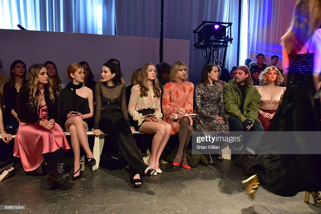 Sophie Curtis, <a gi-track='captionPersonalityLinkClicked' href=/galleries/search?phrase=Katherine+McNamara&family=editorial&specificpeople=6829207 ng-click='$event.stopPropagation()'>Katherine McNamara</a>, <a gi-track='captionPersonalityLinkClicked' href=/galleries/search?phrase=Julia+Goldani+Telles&family=editorial&specificpeople=9192581 ng-click='$event.stopPropagation()'>Julia Goldani Telles</a>, Bridget McGarry, <a gi-track='captionPersonalityLinkClicked' href=/galleries/search?phrase=Zoe+Kazan&family=editorial&specificpeople=3953779 ng-click='$event.stopPropagation()'>Zoe Kazan</a>, <a gi-track='captionPersonalityLinkClicked' href=/galleries/search?phrase=Jena+Malone&family=editorial&specificpeople=216548 ng-click='$event.stopPropagation()'>Jena Malone</a>, Ethan DeLorenzo, and <a gi-track='captionPersonalityLinkClicked' href=/galleries/search?phrase=Willow+Shields&family=editorial&specificpeople=8563210 ng-click='$event.stopPropagation()'>Willow Shields</a> watche the Jill Stuart show from Front Row during Fall 2016 New York Fashion Week at Industria Superstudio on February 13, 2016 in New York City.