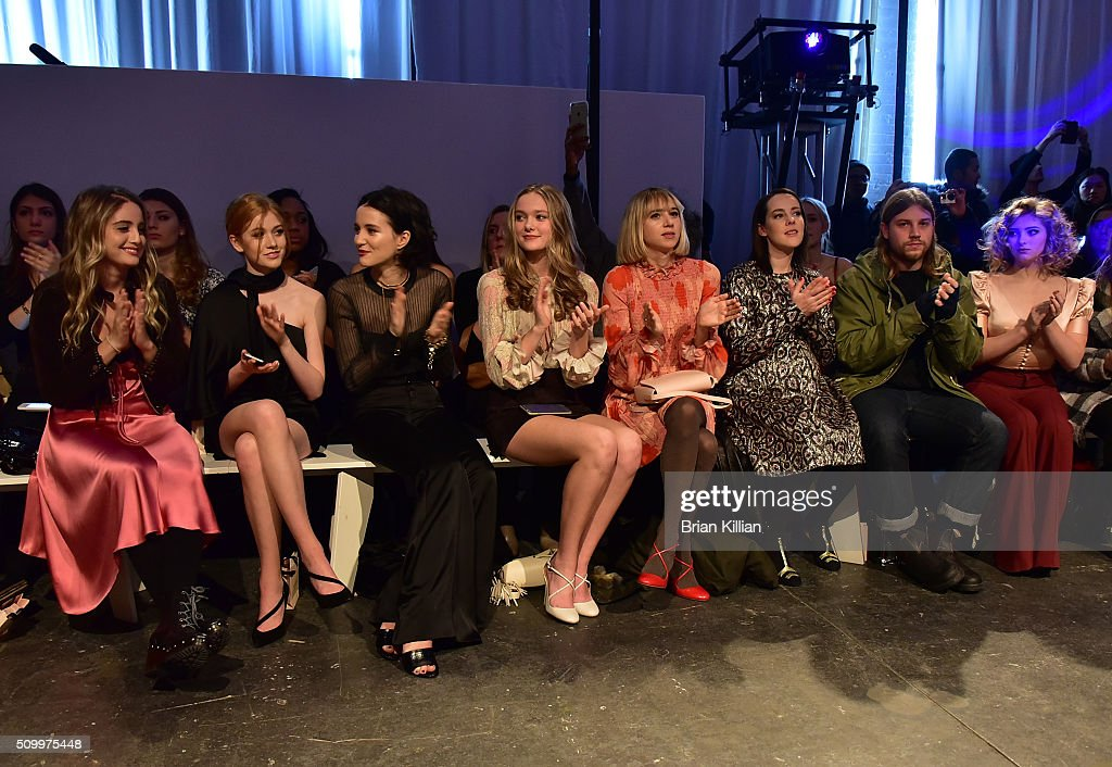 Sophie Curtis, <a gi-track='captionPersonalityLinkClicked' href=/galleries/search?phrase=Katherine+McNamara&family=editorial&specificpeople=6829207 ng-click='$event.stopPropagation()'>Katherine McNamara</a>, <a gi-track='captionPersonalityLinkClicked' href=/galleries/search?phrase=Julia+Goldani+Telles&family=editorial&specificpeople=9192581 ng-click='$event.stopPropagation()'>Julia Goldani Telles</a>, Bridget McGarry, <a gi-track='captionPersonalityLinkClicked' href=/galleries/search?phrase=Zoe+Kazan&family=editorial&specificpeople=3953779 ng-click='$event.stopPropagation()'>Zoe Kazan</a>, <a gi-track='captionPersonalityLinkClicked' href=/galleries/search?phrase=Jena+Malone&family=editorial&specificpeople=216548 ng-click='$event.stopPropagation()'>Jena Malone</a>, Ethan DeLorenzo, and <a gi-track='captionPersonalityLinkClicked' href=/galleries/search?phrase=Willow+Shields&family=editorial&specificpeople=8563210 ng-click='$event.stopPropagation()'>Willow Shields</a> attend the Jill Stuart Fall 2016 show during New York Fashion Week at Industria Superstudio on February 13, 2016 in New York City.