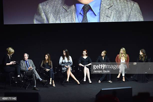 Sophie Dahl Jennifer Starr Candice Huffine Karen Elson Sasha Luss Gigi Hadid and Isabeli Fontana attend the 2015 Pirelli Calendar Press Conference on...