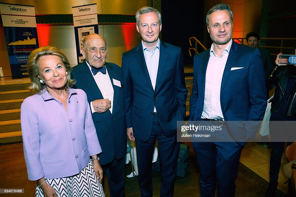 Sophie de Menthon, Gerard Lignac, Bruno Lemaire and Jean Sebastien Ferjou attend the Atlantico 5th Anniversary at Cafe Campana at Musee d'Orsay on May 24, 2016 in Paris, France.