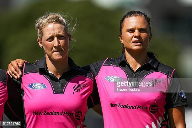 Sophie Devine and Suzie Bates of New Zealand look on during match one of the TransTasman Twenty20 Series at Basin Reserve on February 28 2016 in...