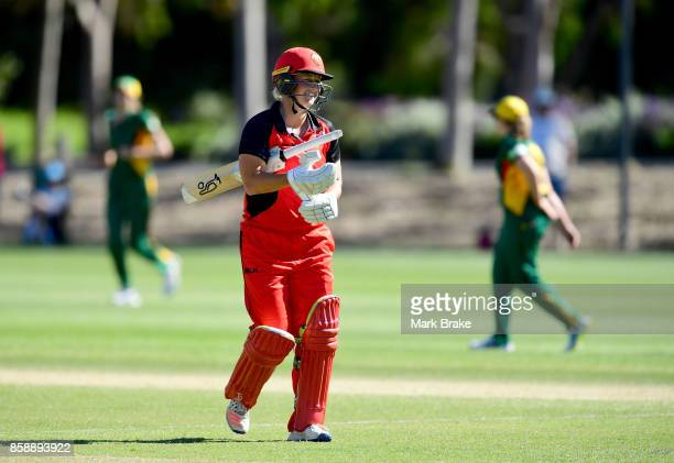 Sophie Devine leaves the ground after being caught for 117 during the WNCL match between South Australia and Tasmania at Adelaide Oval No2 on October...