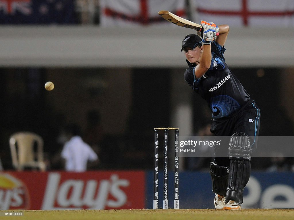 Sophie Devine of New Zealand bats during the Super Sixes match between England and New Zealand held at the Cricket Club of India on February 13, 2013 in Mumbai, India.