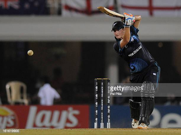 Sophie Devine of New Zealand bats during the Super Sixes match between England and New Zealand held at the Cricket Club of India on February 13 2013...