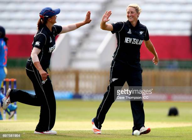 Sophie Devine of New Zealand celebrates with Suzie Bates after taking the wicket of Punam Raut of India during the ICC Women's World Cup warm up...