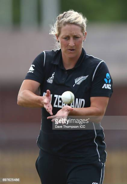 Sophie Devine of New Zealand during the ICC Women's World Cup warm up match between India and New Zealand at The County Ground on June 19 2017 in...