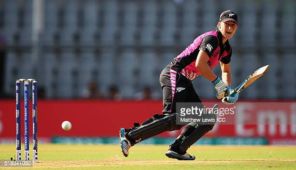 Sophie Devine of New Zealand edges the ball towards the boundary during the Women's ICC World Twenty20 India 2016 Semi Final match between New...